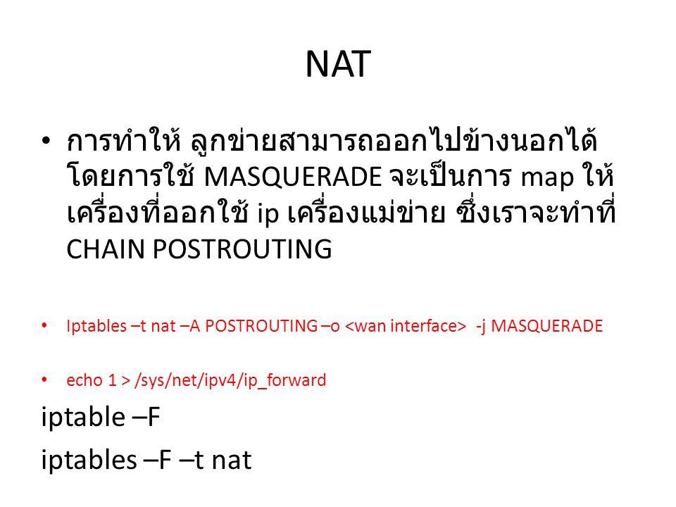 NAT การทำให้ ลูกข่ายสามารถออกไปข้างนอกได้ โดยการใช้ MASQUERADE จะเป็นการ map ให้ เครื่องที่ออกใช้ ip เครื่องแม่ข่าย ซึ่งเราจะทำที่ CHAIN POSTROUTING Iptables –t nat –A POSTROUTING –o -j MASQUERADE echo 1 > /sys/net/ipv4/ip_forward iptable –F iptables –F –t nat