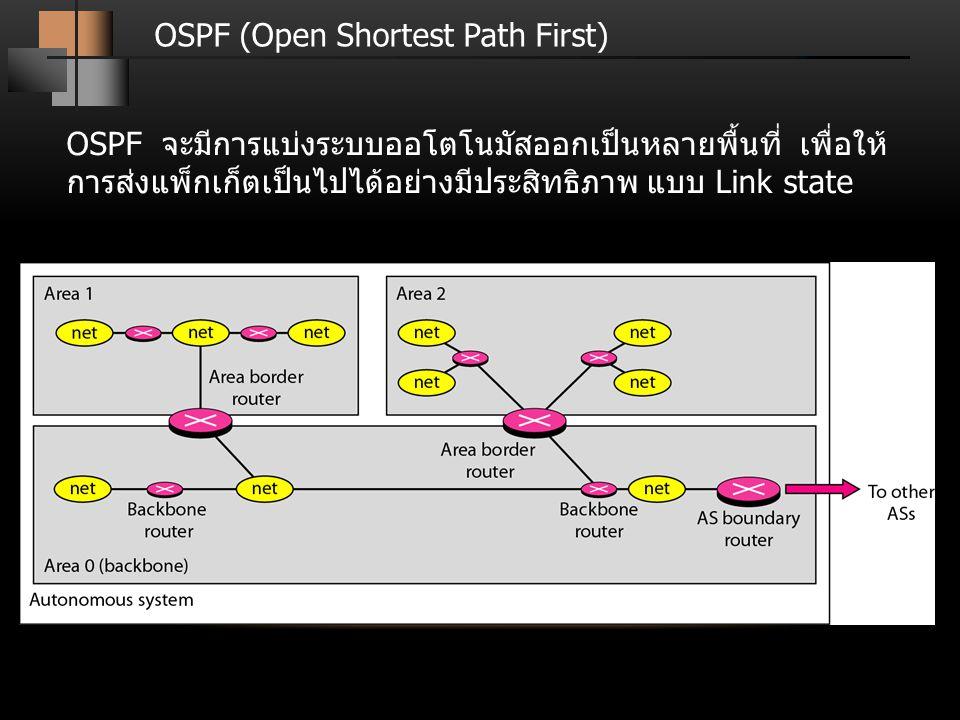 OSPF (Open Shortest Path First) OSPF จะมีการแบ่งระบบออโตโนมัสออกเป็นหลายพื้นที่ เพื่อให้ การส่งแพ็กเก็ตเป็นไปได้อย่างมีประสิทธิภาพ แบบ Link state