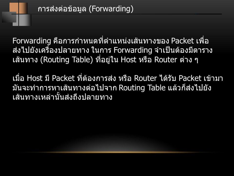 การส่งต่อข้อมูล (Forwarding) Forwarding คือการกำหนดที่ตำแหน่งเส้นทางของ Packet เพื่อ ส่งไปยังเครื่องปลายทาง ในการ Forwarding จำเป็นต้องมีตาราง เส้นทาง