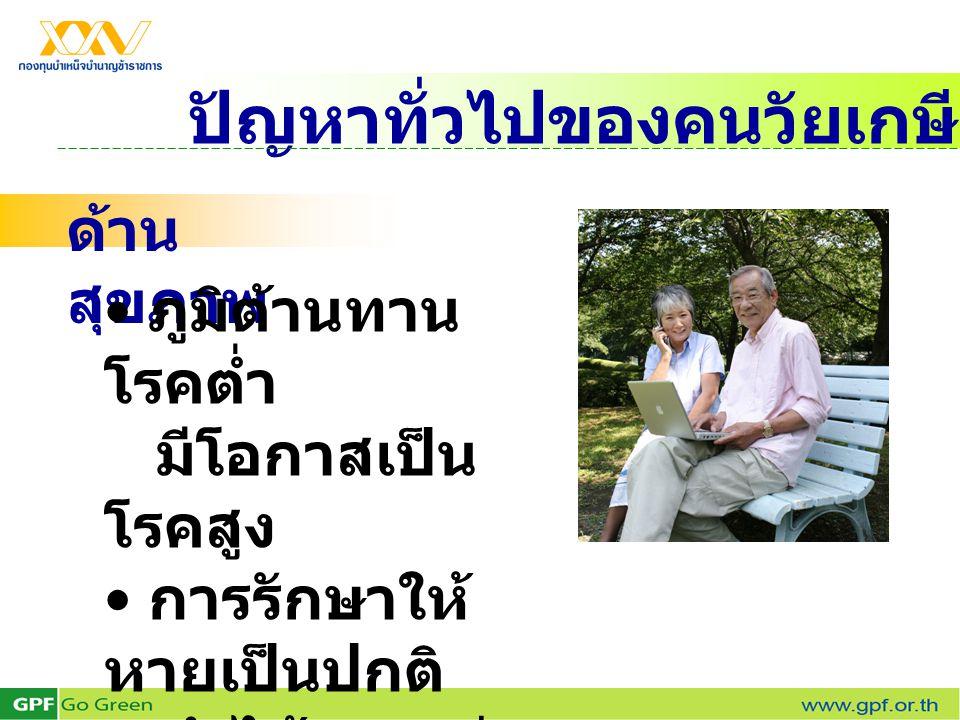 ปัญหาทั่วไปของคนวัยเกษียณ ด้าน สุขภาพ ภูมิต้านทาน โรคต่ำ มีโอกาสเป็น โรคสูง การรักษาให้ หายเป็นปกติ ทำได้ยากกว่า วัยอื่น