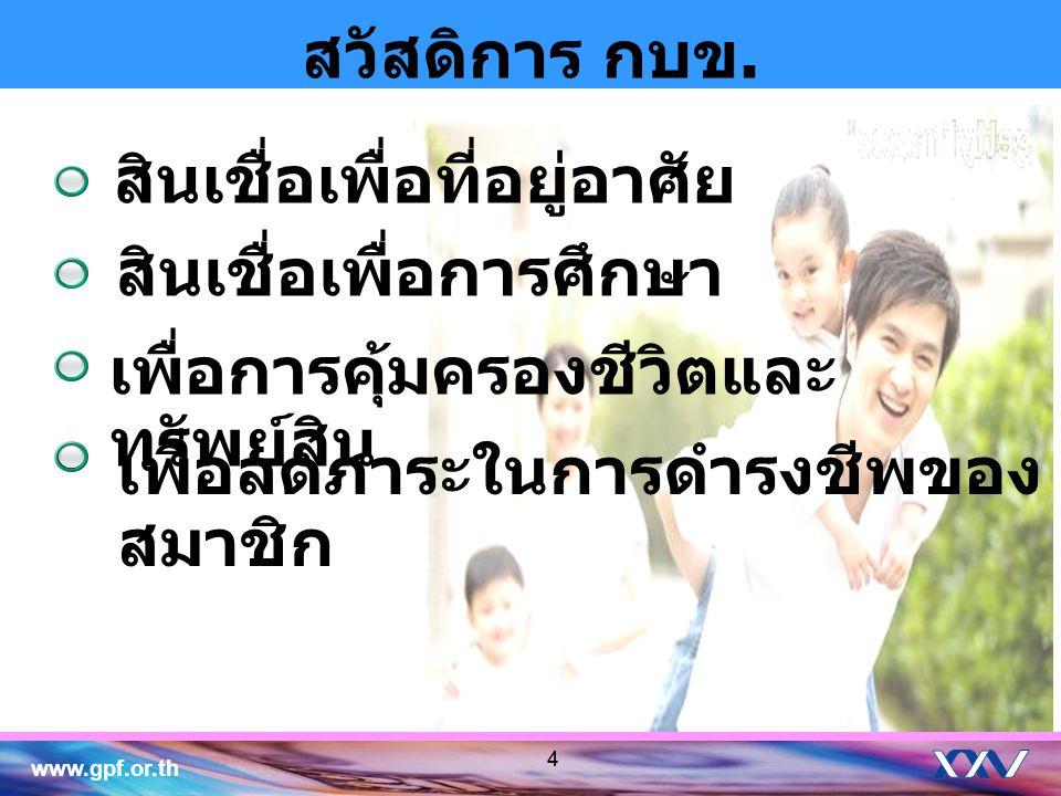 www.gpf.or.th 5 สวัสดิการ ณ ปัจจุบัน สินเชื่อเพื่อที่อยู่อาศัย สินเชื่อเคหะ ( ธนาคารนครหลวงไทย ) โครงการบ้าน กรุงไทย – กบข.