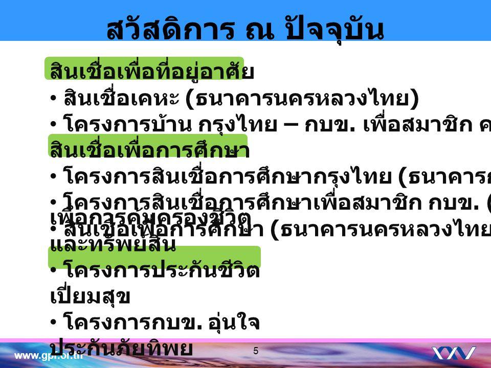 www.gpf.or.th 66 สวัสดิการ ณ ปัจจุบัน เพื่อลดภาระในการดำรงชีพของสมาชิก 1 บัตร ประหยัดทั่วไทย บัตร Major Cineplex & EGV Gift Voucher สำหรับสมาชิก กบข.