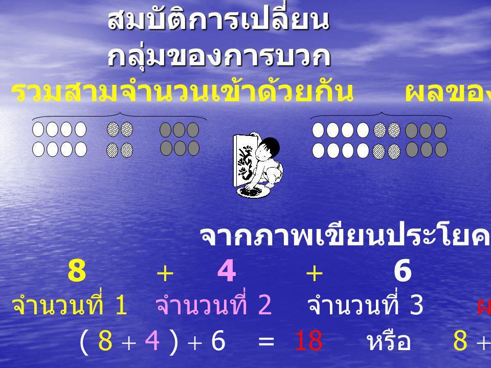 สมบัติการเปลี่ยน กลุ่มของการบวก รวมสามจำนวนเข้าด้วยกันผลของการรวมกัน จากภาพเขียนประโยคสัญลักษณ์ได้ว่า 8  4  6 = 18 จำนวนที่ 1 จำนวนที่ 2 จำนวนที่ 3