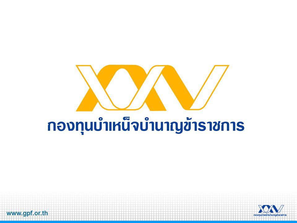 www.gpf.or.th มูลค่าต่อหน่วย = มูลค่าทรัพย์สินสุทธิ รวมของกองทุน จำนวนหน่วย มูลค่าหน่วย (Unit Price) มูลค่าต่อหน่วยของเงินลงทุน เปลี่ยนแปลงตามราคาตลาด จะลด เมื่อผลการลงทุนเป็น ลบ หรือ ขาดทุน จะเพิ่ม เมื่อผลการลงทุนเป็น บวก หรือ ได้กำไร