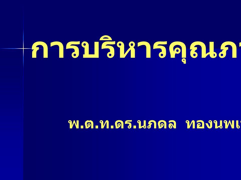 การบริหารคุณภาพองค์กร พ. ต. ท. ดร. นภดล ทองนพเนื้อ