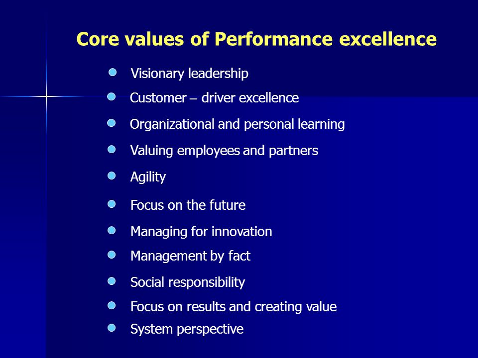 Core values of Performance excellence Visionary leadership Customer – driver excellence Organizational and personal learning Valuing employees and partners Agility Focus on the future Managing for innovation Management by fact Social responsibility Focus on results and creating value System perspective