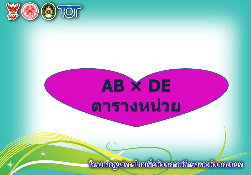 AB × DE ตารางหน่วย