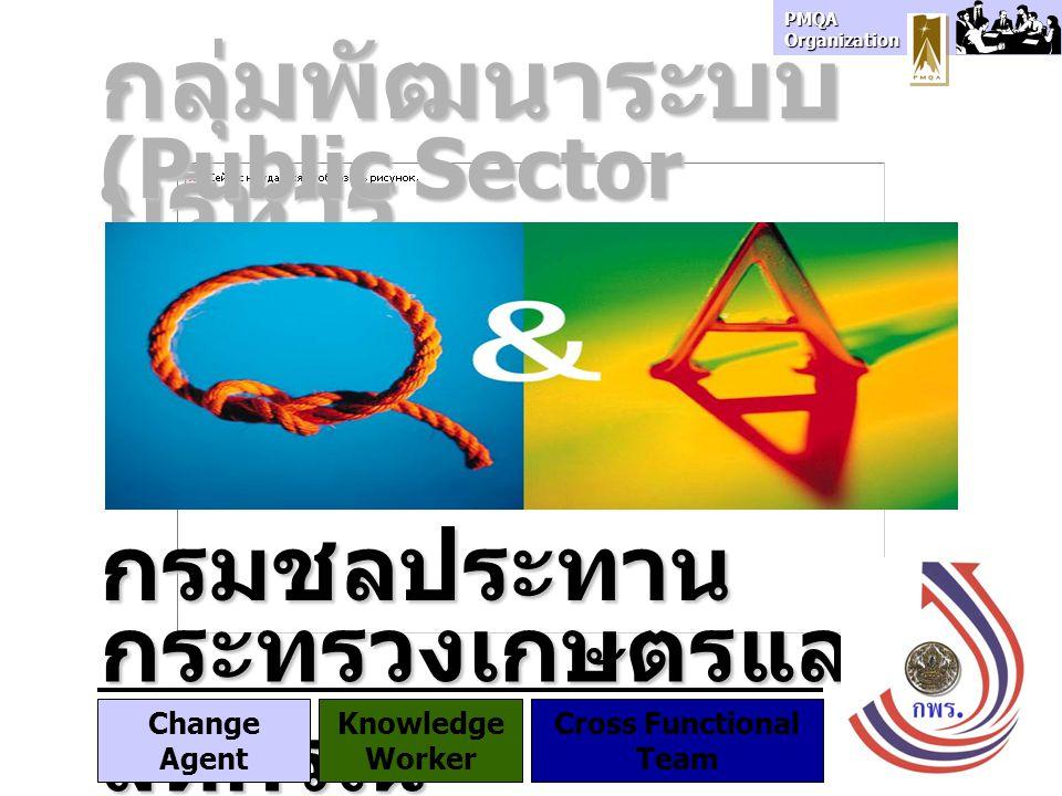 PMQA Organization กลุ่มพัฒนาระบบ บริหาร กรมชลประทาน (Public Sector Development Division) กระทรวงเกษตรและ สหกรณ์ Change Agent Knowledge Worker Cross Fu