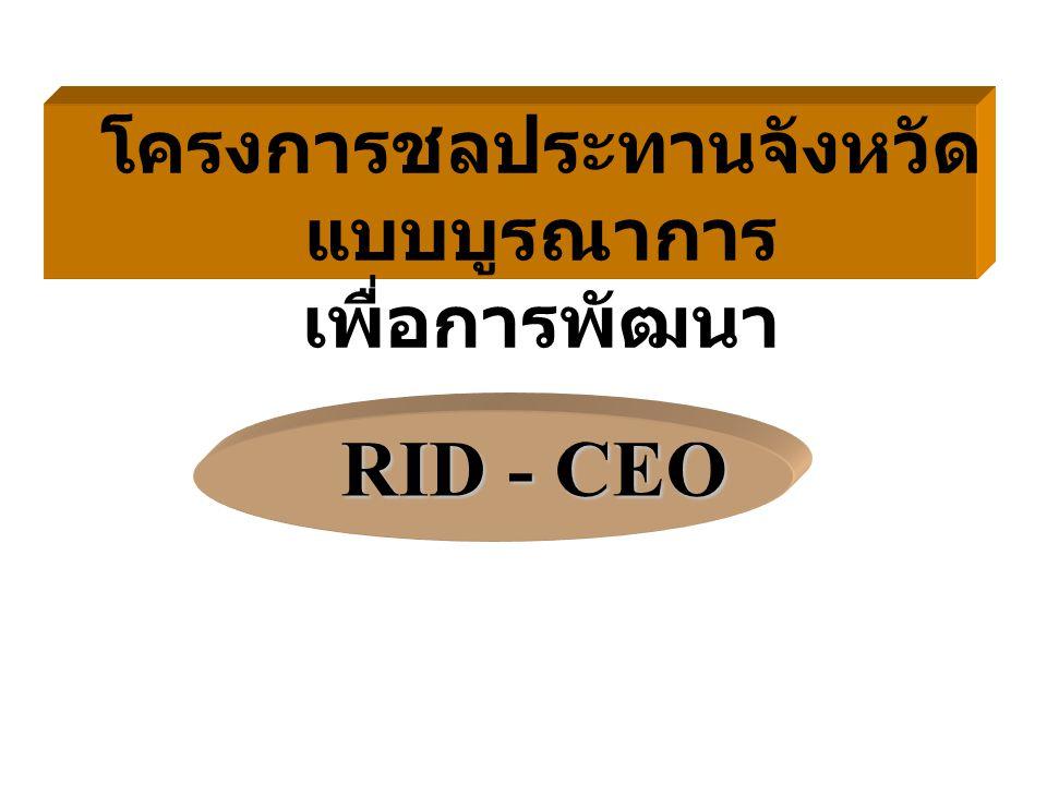 RID - CEO โครงการชลประทานจังหวัด แบบบูรณาการ เพื่อการพัฒนา