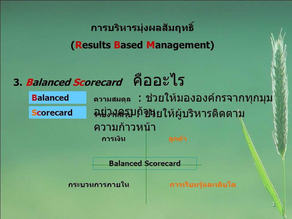 3 การบริหารมุ่งผลสัมฤทธิ์ (Results Based Management) 3. Balanced Scorecard คืออะไร Balanced การเงิน ลูกค้า กระบวนการภายใน การเรียนรู้และเติบโต Balance
