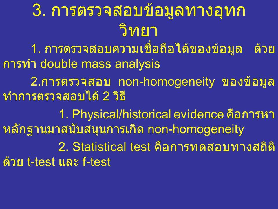3.การตรวจสอบข้อมูลทางอุทก วิทยา 1.