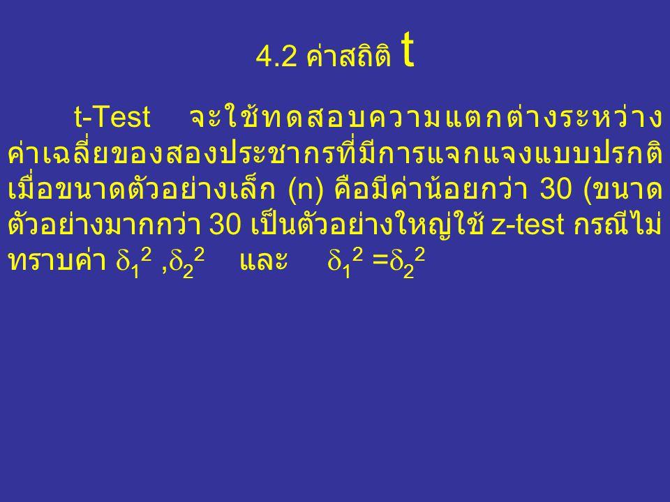 4.2 ค่าสถิติ t t-Test จะใช้ทดสอบความแตกต่างระหว่าง ค่าเฉลี่ยของสองประชากรที่มีการแจกแจงแบบปรกติ เมื่อขนาดตัวอย่างเล็ก (n) คือมีค่าน้อยกว่า 30 ( ขนาด ตัวอย่างมากกว่า 30 เป็นตัวอย่างใหญ่ใช้ z-test กรณีไม่ ทราบค่า  1 2,  2 2 และ  1 2 =  2 2