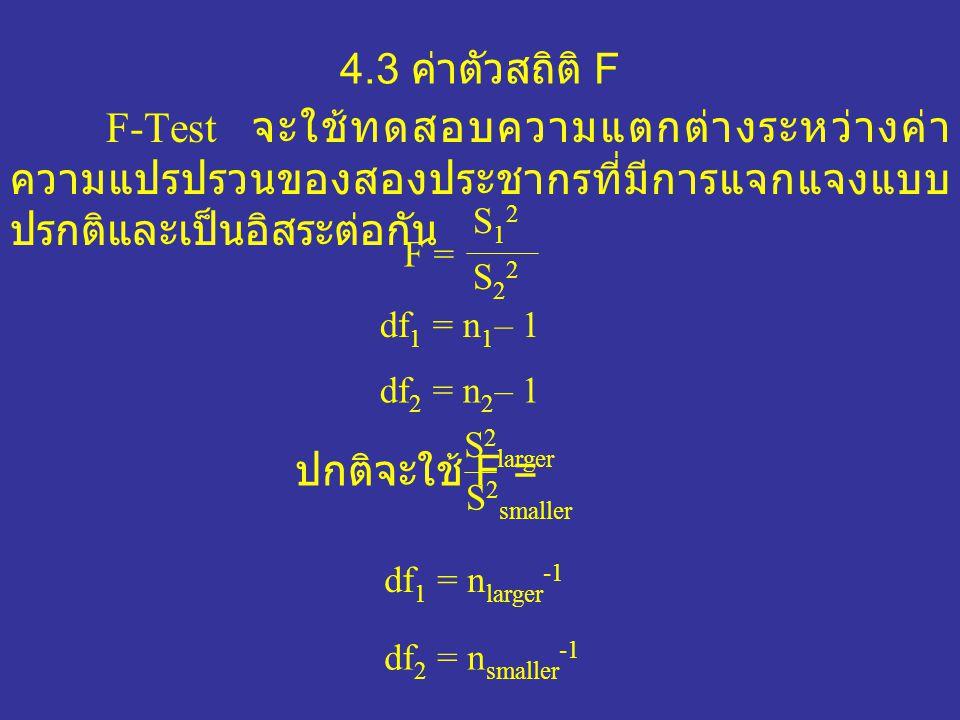 4.3 ค่าตัวสถิติ F F-Test จะใช้ทดสอบความแตกต่างระหว่างค่า ความแปรปรวนของสองประชากรที่มีการแจกแจงแบบ ปรกติและเป็นอิสระต่อกัน F = S12S12 S22S22 df 1 = n 1 – 1 df 2 = n 2 – 1 ปกติจะใช้ F = S 2 larger S 2 smaller df 1 = n larger -1 df 2 = n smaller -1