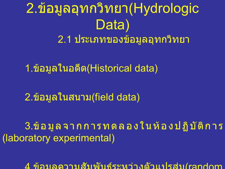 2.ข้อมูลอุทกวิทยา (Hydrologic Data) 2.1 ประเภทของข้อมูลอุทกวิทยา 1.