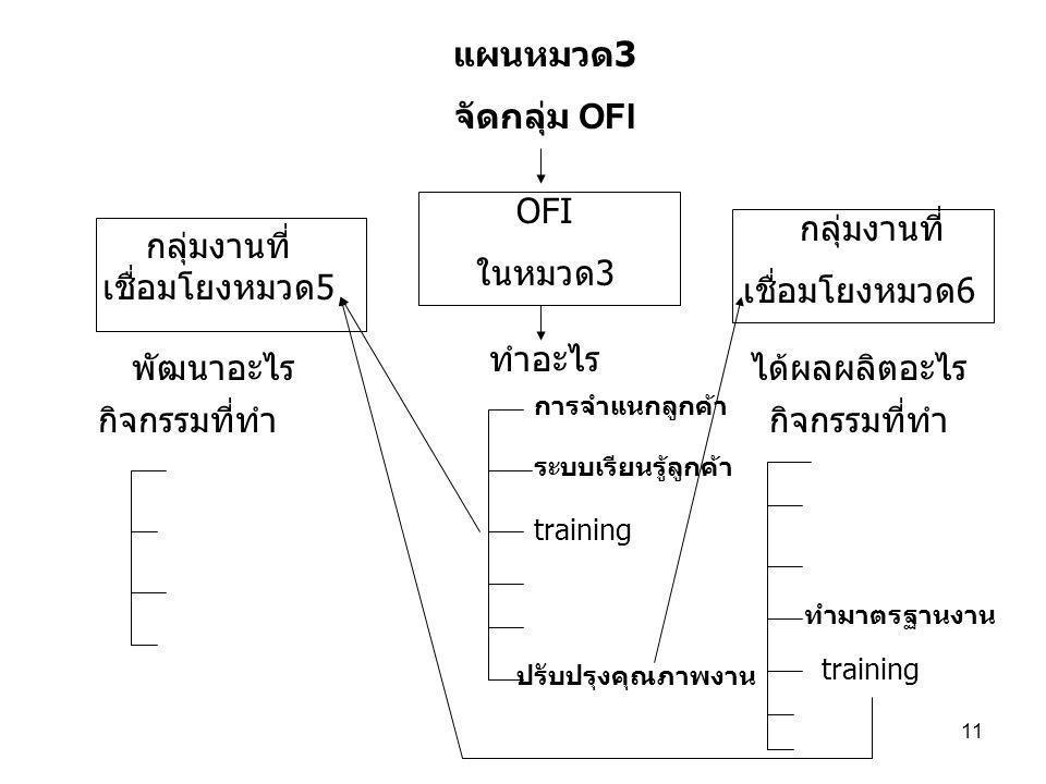 11 แผนหมวด 3 จัดกลุ่ม OFI OFI ในหมวด3 กลุ่มงานที่ เชื่อมโยงหมวด5 กลุ่มงานที่ เชื่อมโยงหมวด6 พัฒนาอะไรได้ผลผลิตอะไร กิจกรรมที่ทำ training ทำอะไร ปรับปรุงคุณภาพงาน ทำมาตรฐานงาน ระบบเรียนรู้ลูกค้า การจำแนกลูกค้า