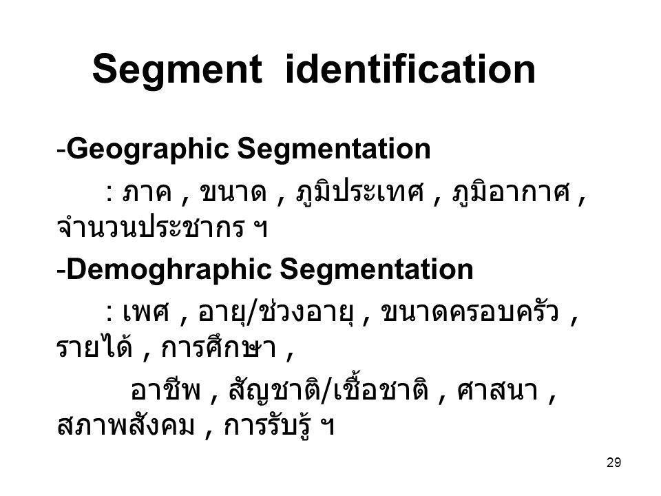 29 Segment identification -Geographic Segmentation : ภาค, ขนาด, ภูมิประเทศ, ภูมิอากาศ, จำนวนประชากร ฯ -Demoghraphic Segmentation : เพศ, อายุ / ช่วงอายุ, ขนาดครอบครัว, รายได้, การศึกษา, อาชีพ, สัญชาติ / เชื้อชาติ, ศาสนา, สภาพสังคม, การรับรู้ ฯ
