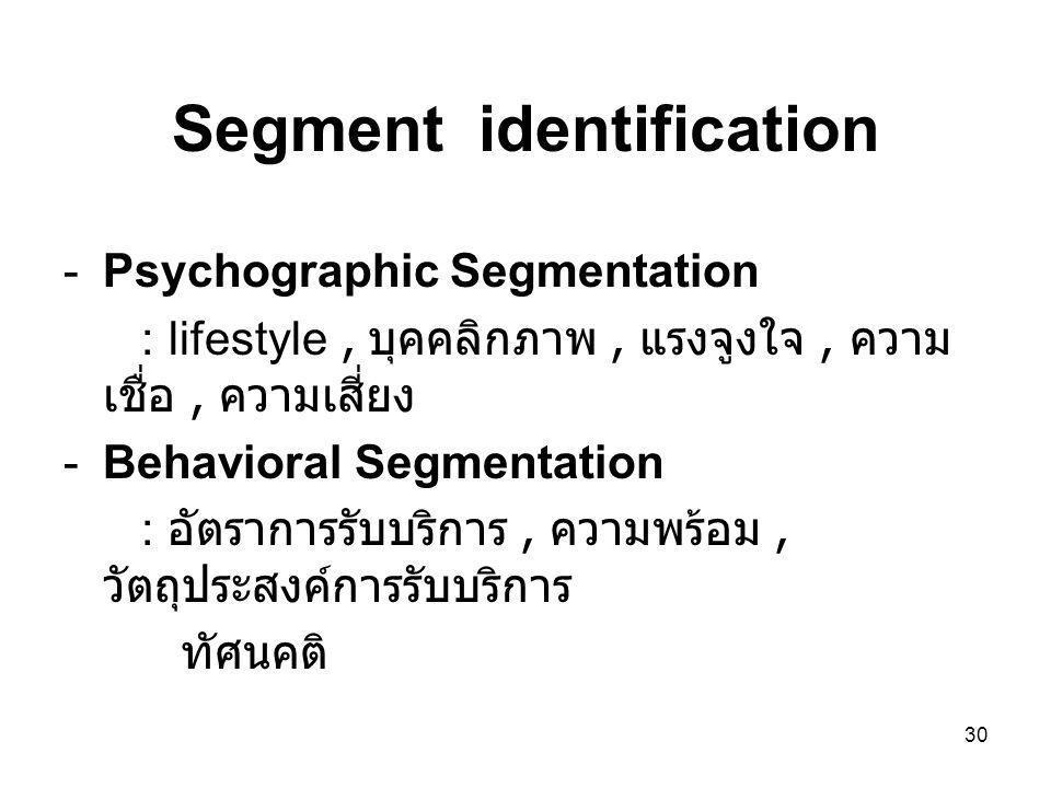 30 Segment identification -Psychographic Segmentation : lifestyle, บุคคลิกภาพ, แรงจูงใจ, ความ เชื่อ, ความเสี่ยง -Behavioral Segmentation : อัตราการรับ