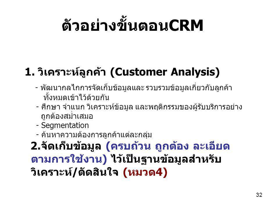 32 1. วิเคราะห์ลูกค้า (Customer Analysis) - พัฒนากลไกการจัดเก็บข้อมูลและ รวบรวมข้อมูลเกี่ยวกับลูกค้า ทั้งหมดเข้าไว้ด้วยกัน - ศึกษา จำแนก วิเคราะห์ข้อม