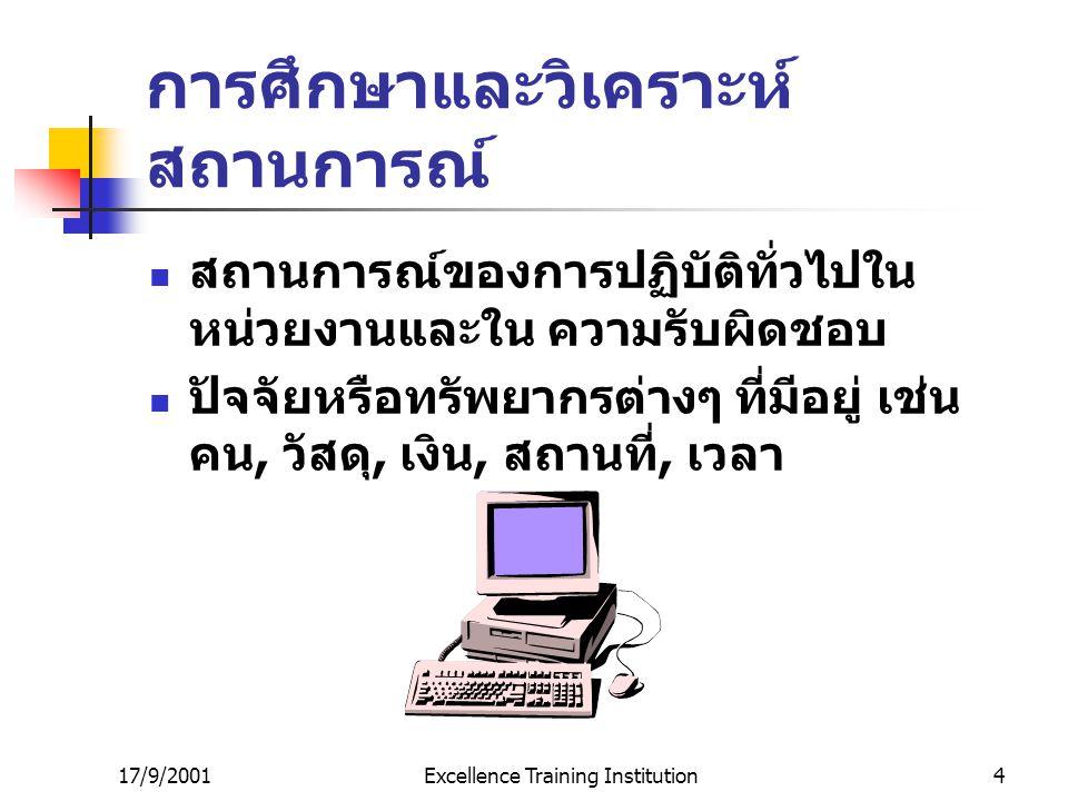 17/9/2001Excellence Training Institution4 การศึกษาและวิเคราะห์ สถานการณ์ สถานการณ์ของการปฏิบัติทั่วไปใน หน่วยงานและใน ความรับผิดชอบ ปัจจัยหรือทรัพยากรต่างๆ ที่มีอยู่ เช่น คน, วัสดุ, เงิน, สถานที่, เวลา