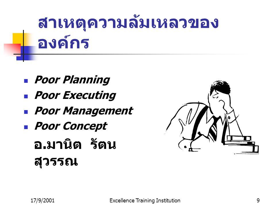 17/9/2001Excellence Training Institution8 สาเหตุที่แผนงานไม่บรรลุผล ตามเป้าหมาย ( ต่อ ) ผู้บริหารขาดความรู้ ความสามารถ ในกระบวนการบริหาร ผู้บริหารขาดท