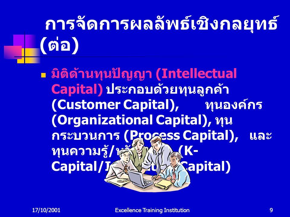 17/10/2001Excellence Training Institution9 การจัดการผลลัพธ์เชิงกลยุทธ์ ( ต่อ ) มิติด้านทุนปัญญา (Intellectual Capital) ประกอบด้วยทุนลูกค้า (Customer Capital), ทุนองค์กร (Organizational Capital), ทุน กระบวนการ (Process Capital), และ ทุนความรู้ / นวัตกรรม (K- Capital/Innovation Capital)