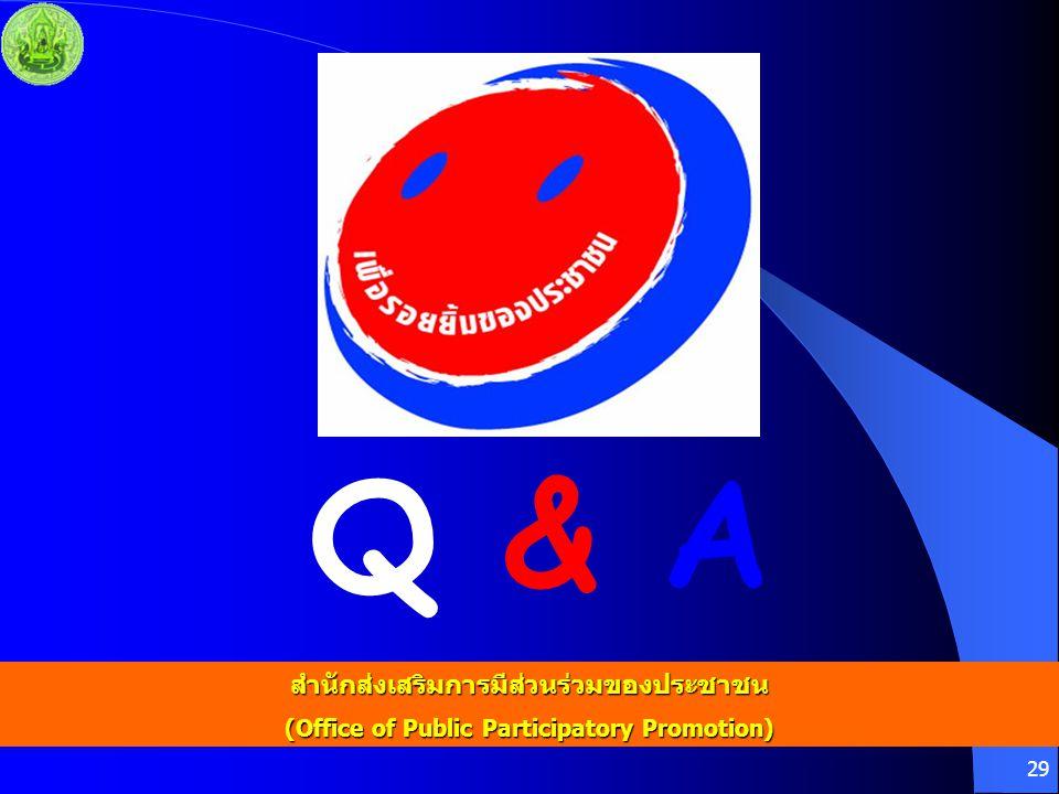 29 Q & A สำนักส่งเสริมการมีส่วนร่วมของประชาชน (Office of Public Participatory Promotion)