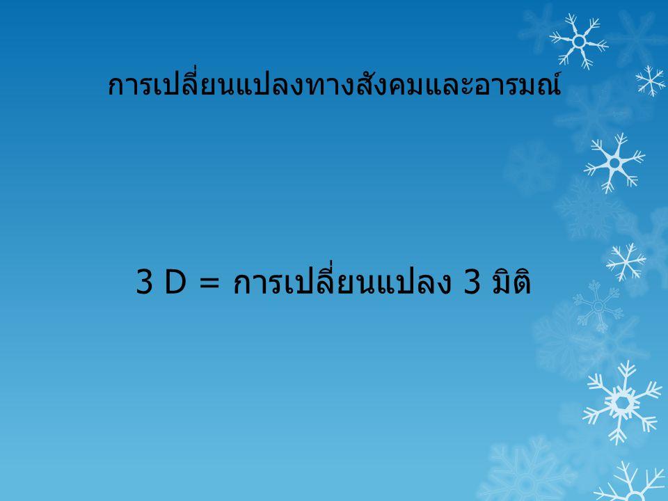การเปลี่ยนแปลงทางสังคมและอารมณ์ 3 D = การเปลี่ยนแปลง 3 มิติ