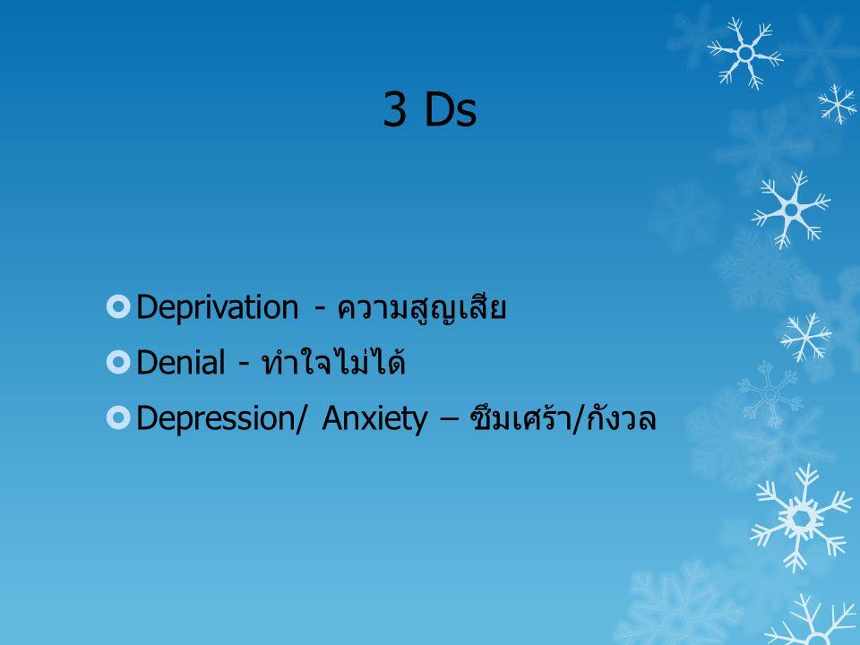 3 Ds  Deprivation - ความสูญเสีย  Denial - ทำใจไม่ได้  Depression/ Anxiety – ซึมเศร้า/กังวล