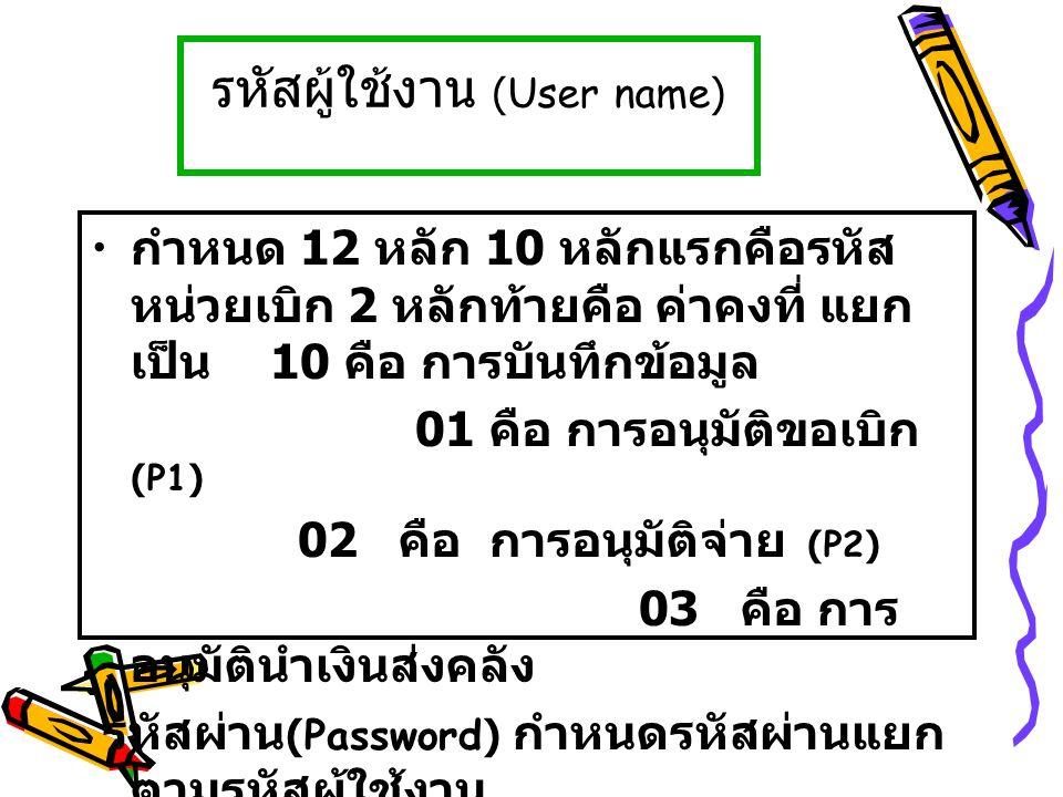 รหัสผู้ใช้งาน (User name) กำหนด 12 หลัก 10 หลักแรกคือรหัส หน่วยเบิก 2 หลักท้ายคือ ค่าคงที่ แยก เป็น 10 คือ การบันทึกข้อมูล 01 คือ การอนุมัติขอเบิก (P1