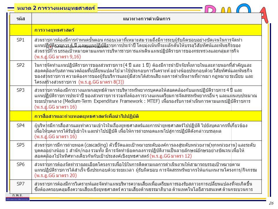 26 รหัสแนวทางการดำเนินการ การวางยุทธศาสตร์ SP1ส่วนราชการต้องมีการกำหนดขั้นตอน กรอบเวลาที่เหมาะสม รวมถึงมีการระบุผู้รับผิดชอบอย่างชัดเจนในการจัดทำ แผนป