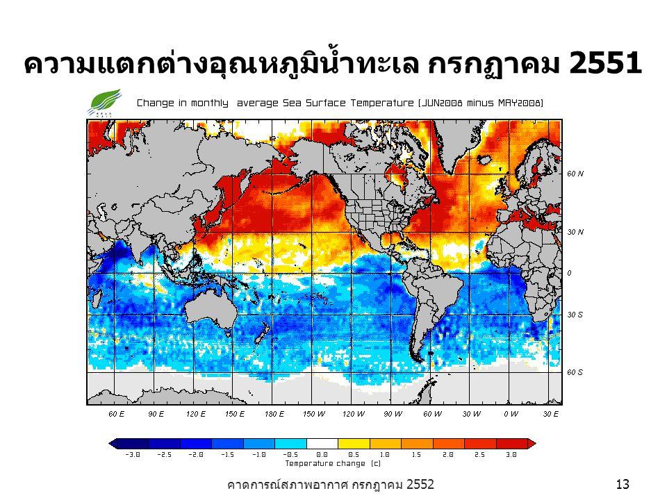 คาดการณ์สภาพอากาศ กรกฎาคม 2552 13 ความแตกต่างอุณหภูมิน้ำทะเล กรกฏาคม 2551