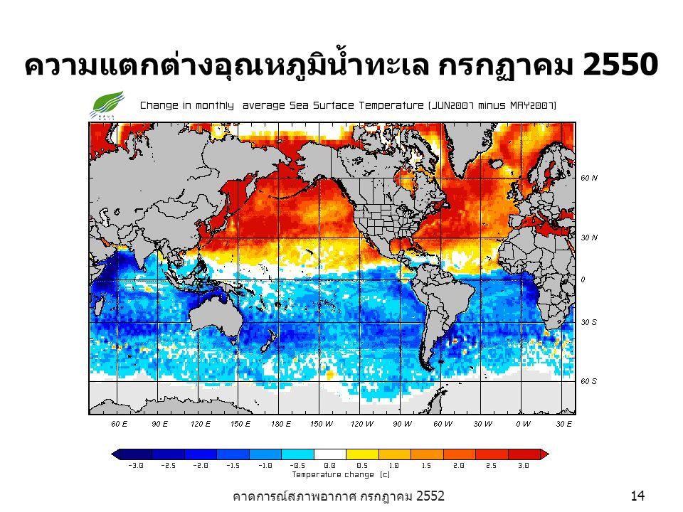 คาดการณ์สภาพอากาศ กรกฎาคม 2552 14 ความแตกต่างอุณหภูมิน้ำทะเล กรกฏาคม 2550