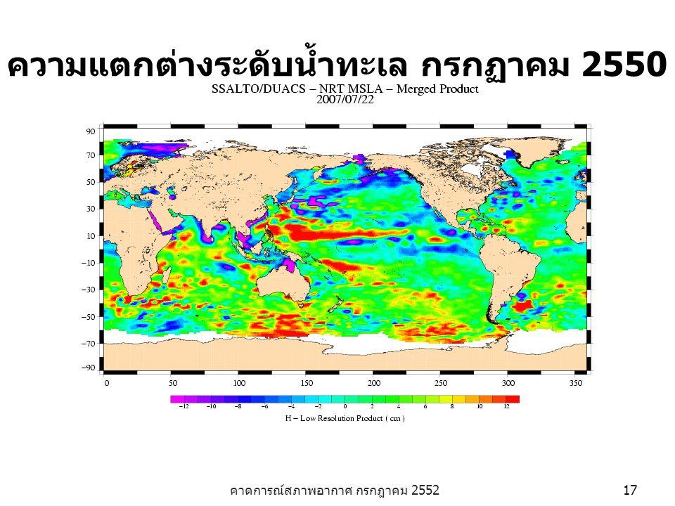 คาดการณ์สภาพอากาศ กรกฎาคม 2552 17 ความแตกต่างระดับน้ำทะเล กรกฏาคม 2550