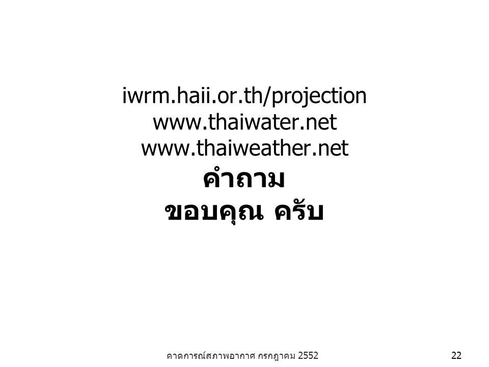 คาดการณ์สภาพอากาศ กรกฎาคม 2552 22 iwrm.haii.or.th/projection www.thaiwater.net www.thaiweather.net คำถาม ขอบคุณ ครับ
