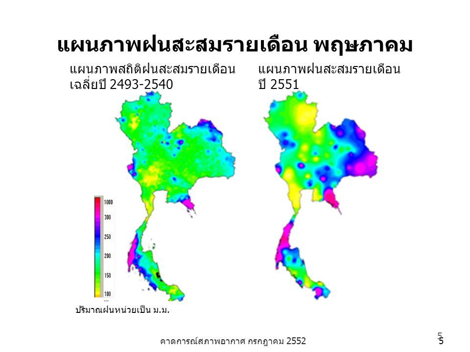 คาดการณ์สภาพอากาศ กรกฎาคม 2552 5 5 แผนภาพฝนสะสมรายเดือน พฤษภาคม ปริมาณฝนหน่วยเป็น ม.ม. แผนภาพสถิติฝนสะสมรายเดือน เฉลี่ยปี 2493-2540 แผนภาพฝนสะสมรายเดื