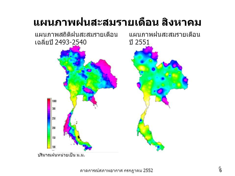 คาดการณ์สภาพอากาศ กรกฎาคม 2552 6 6 แผนภาพฝนสะสมรายเดือน สิงหาคม ปริมาณฝนหน่วยเป็น ม.ม. แผนภาพสถิติฝนสะสมรายเดือน เฉลี่ยปี 2493-2540 แผนภาพฝนสะสมรายเดื