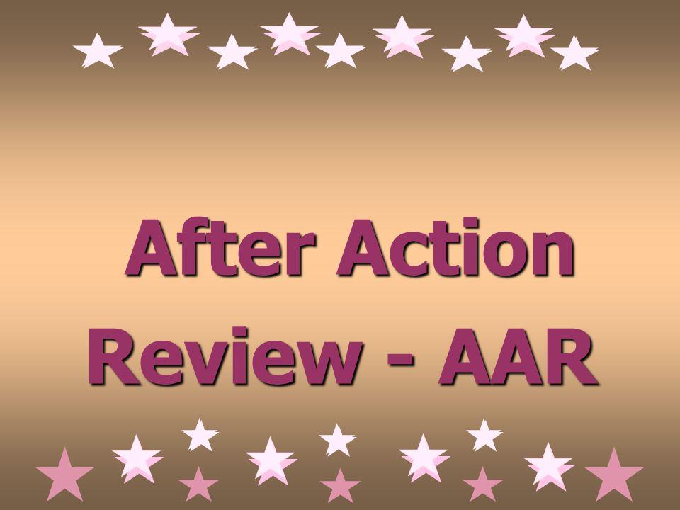 After Action Review - AAR After Action Review - AAR