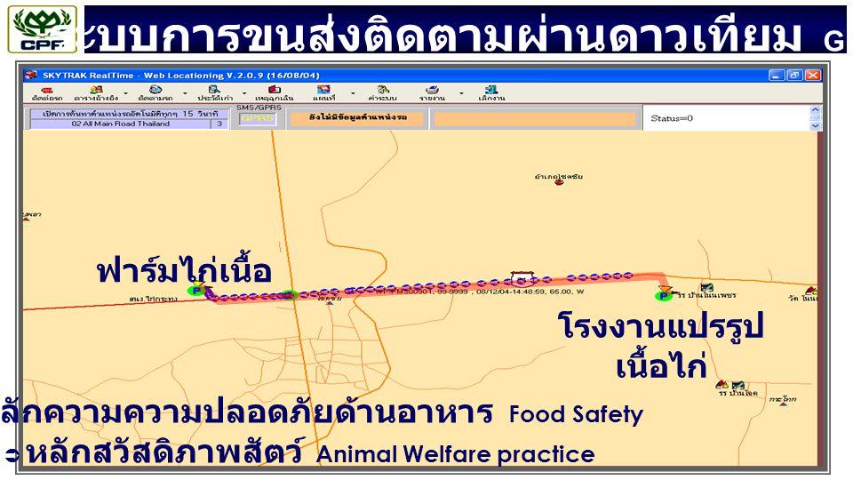 ระบบการขนส่งติดตามผ่านดาวเทียม GPS ฟาร์มไก่เนื้อ โรงงานแปรรูป เนื้อไก่  หลักความความปลอดภัยด้านอาหาร Food Safety  หลักสวัสดิภาพสัตว์ Animal Welfare practice