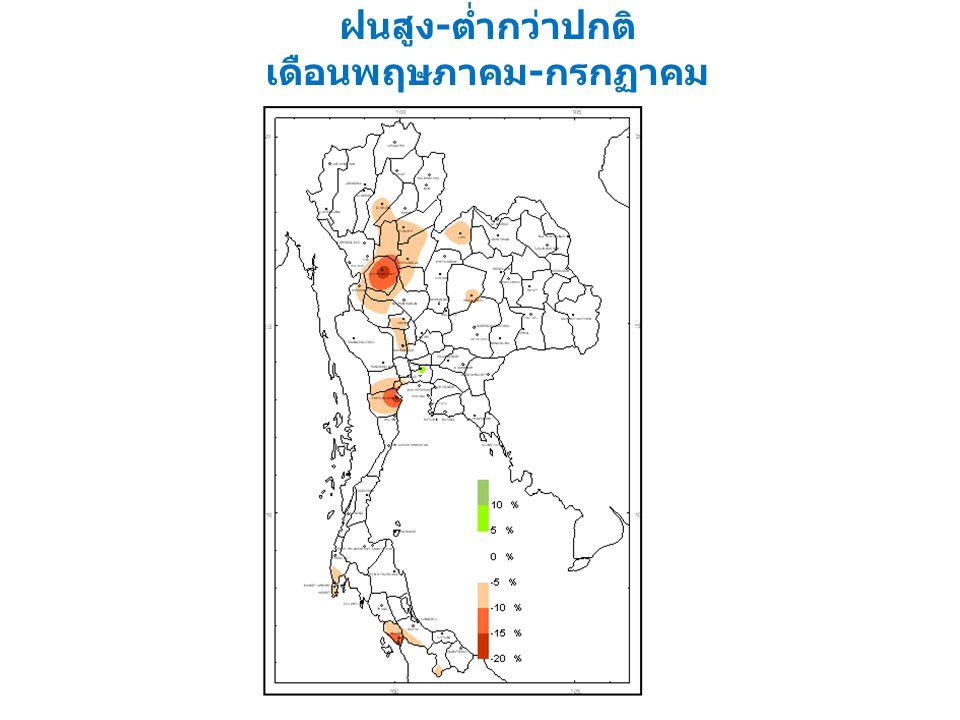 คาดหมายเปอร์เซ็นต์ปริมาณ ฝนสูง - ต่ำกว่าปกติ เดือนพฤษภาคม - กรกฏาคม พ. ศ. 2553