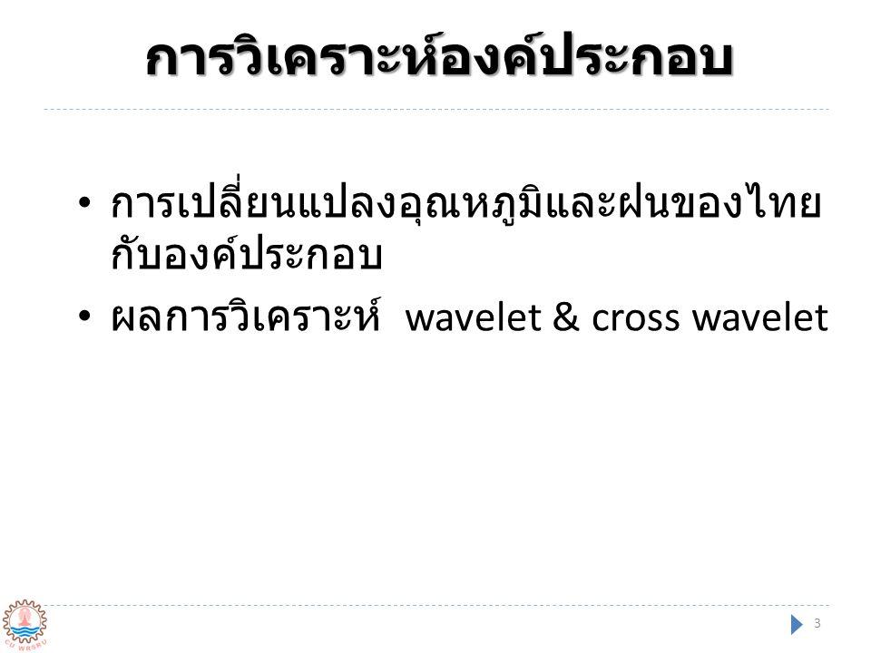 การวิเคราะห์องค์ประกอบ การเปลี่ยนแปลงอุณหภูมิและฝนของไทย กับองค์ประกอบ ผลการวิเคราะห์ wavelet & cross wavelet 3