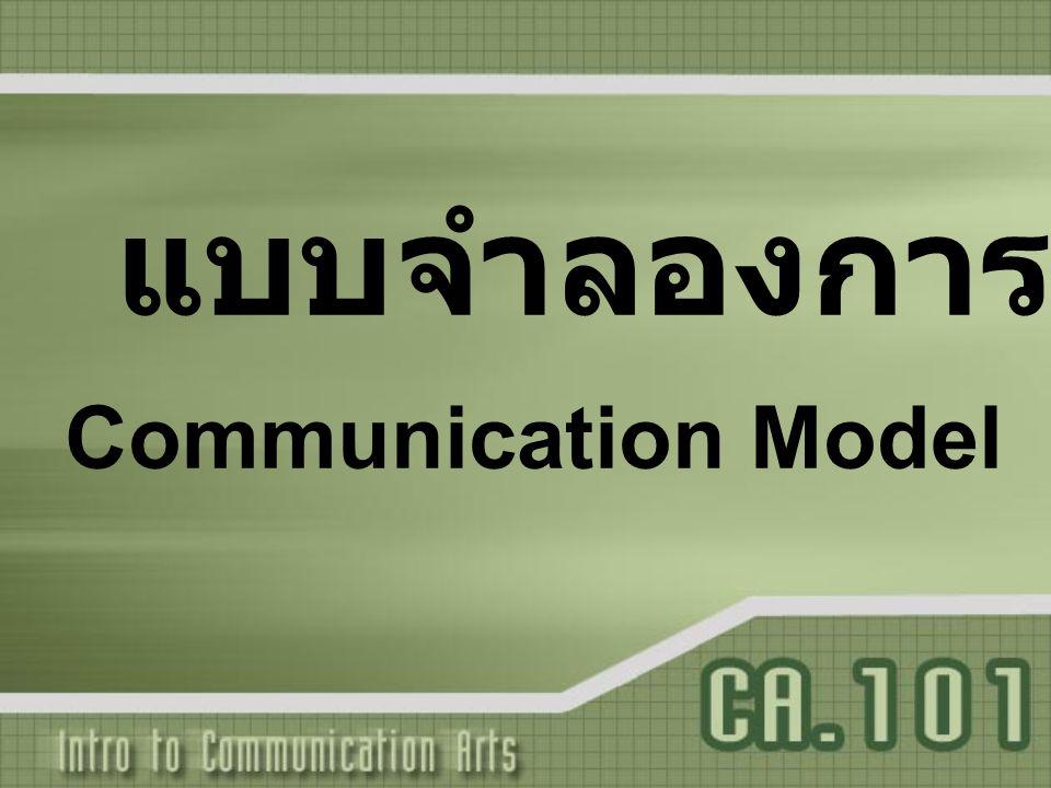 องค์ประกอบพื้นฐานของการสื่อสาร องค์ประกอบพื้นฐานของแบบจำลอง 1.