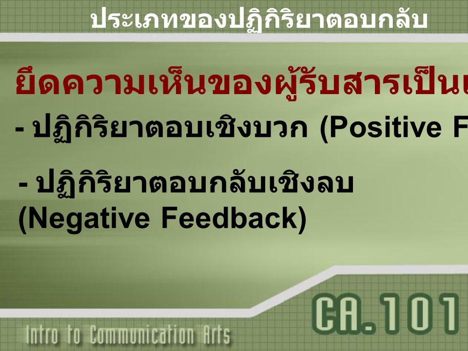 ประเภทของปฏิกิริยาตอบกลับ - ปฏิกิริยาตอบกลับเชิงลบ (Negative Feedback) ยึดความเห็นของผู้รับสารเป็นเกณฑ์ - ปฏิกิริยาตอบเชิงบวก (Positive Feedback)