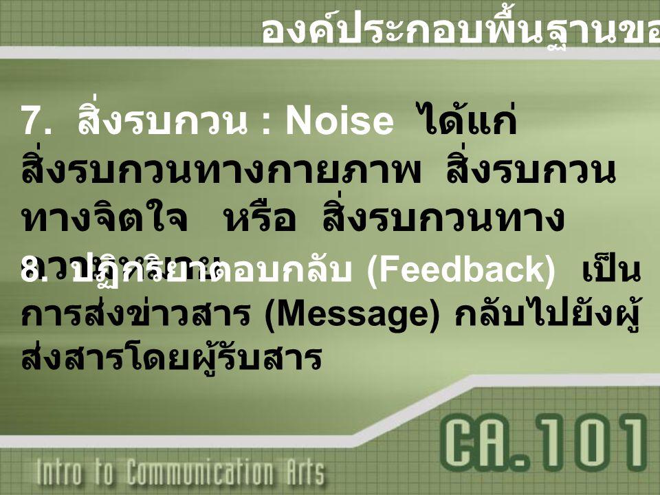 องค์ประกอบพื้นฐานของการสื่อสาร 7. สิ่งรบกวน : Noise ได้แก่ สิ่งรบกวนทางกายภาพ สิ่งรบกวน ทางจิตใจ หรือ สิ่งรบกวนทาง ความหมาย 8. ปฏิกริยาตอบกลับ (Feedba