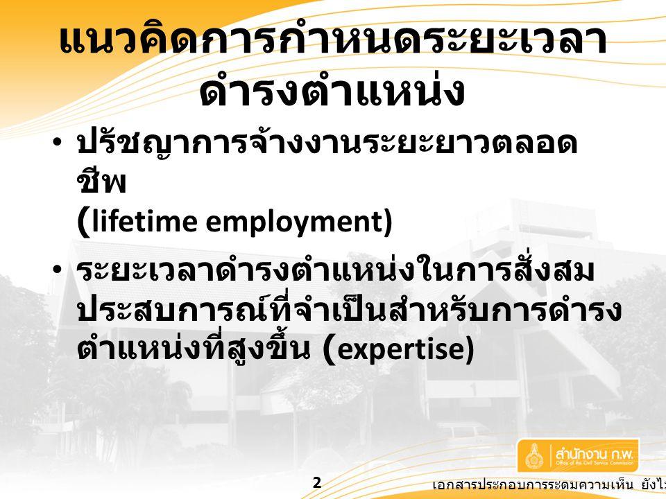 เอกสารประกอบการระดมความเห็น ยังไม่เป็นข้อยุติ 2 แนวคิดการกำหนดระยะเวลา ดำรงตำแหน่ง ปรัชญาการจ้างงานระยะยาวตลอด ชีพ (lifetime employment) ระยะเวลาดำรงตำแหน่งในการสั่งสม ประสบการณ์ที่จำเป็นสำหรับการดำรง ตำแหน่งที่สูงขึ้น (expertise)