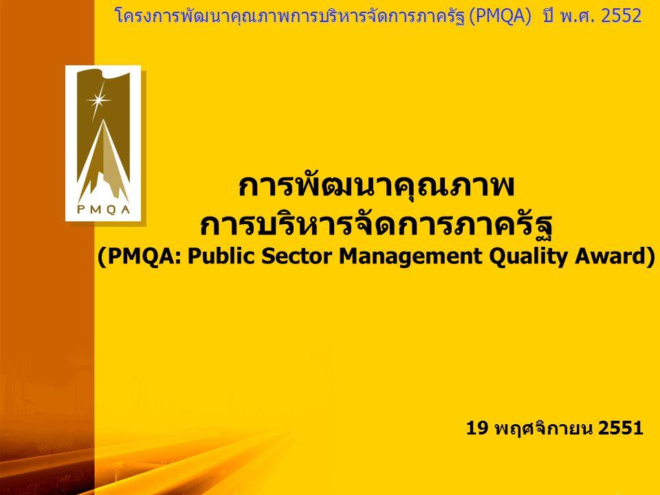 PMQA Organization 1 โครงการพัฒนาคุณภาพการบริหารจัดการภาครัฐ (PMQA) ปี พ.ศ. 2552 การพัฒนาคุณภาพ การบริหารจัดการภาครัฐ (PMQA: Public Sector Management Q