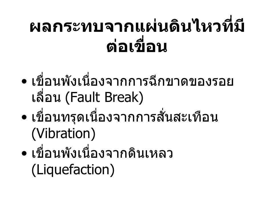 ผลกระทบจากแผ่นดินไหวที่มี ต่อเขื่อน เขื่อนพังเนื่องจากการฉีกขาดของรอย เลื่อน (Fault Break) เขื่อนทรุดเนื่องจากการสั่นสะเทือน (Vibration) เขื่อนพังเนื่