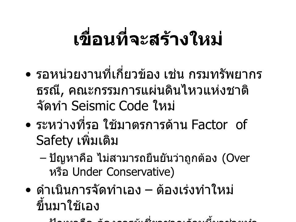 เขื่อนที่จะสร้างใหม่ รอหน่วยงานที่เกี่ยวข้อง เช่น กรมทรัพยากร ธรณี, คณะกรรมการแผ่นดินไหวแห่งชาติ จัดทำ Seismic Code ใหม่ ระหว่างที่รอ ใช้มาตรการด้าน F