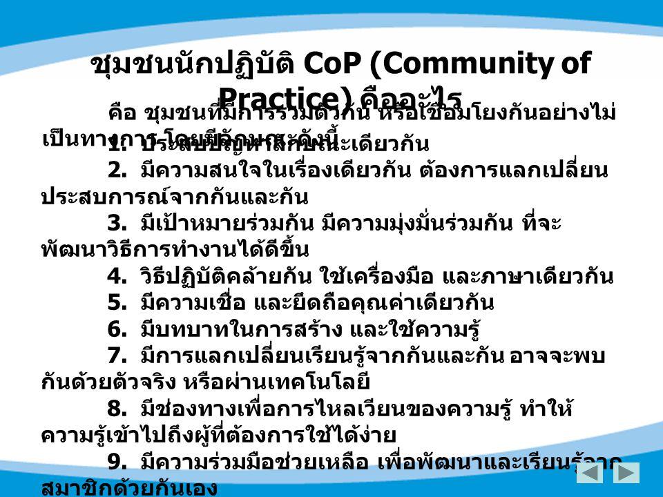 ชุมชนนักปฏิบัติ CoP (Community of Practice) คืออะไร คือ ชุมชนที่มีการรวมตัวกัน หรือเชื่อมโยงกันอย่างไม่ เป็นทางการ โดยมีลักษณะดังนี้ 1. ประสบปัญหาลักษ