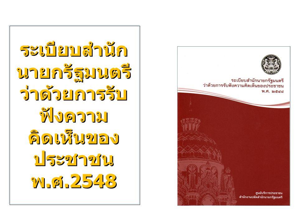ระเบียบสำนัก นายกรัฐมนตรี ว่าด้วยการรับ ฟังความ คิดเห็นของ ประชาชน พ.ศ.2548 ระเบียบสำนัก นายกรัฐมนตรี ว่าด้วยการรับ ฟังความ คิดเห็นของ ประชาชน พ.ศ.254