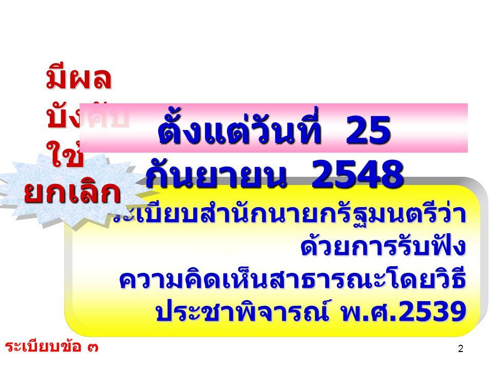 2 ระเบียบสำนักนายกรัฐมนตรีว่า ด้วยการรับฟัง ความคิดเห็นสาธารณะโดยวิธี ประชาพิจารณ์ พ. ศ.2539 ยกเลิกยกเลิก มีผล บังคับ ใช้ ตั้งแต่วันที่ 25 กันยายน 254